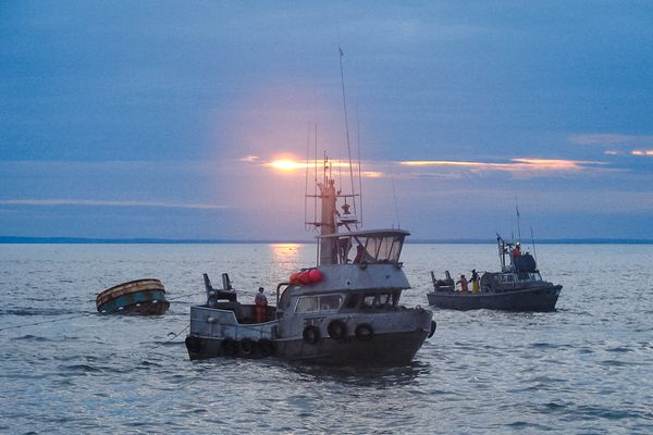 An undated photo shows boats participating in the Bristol Bay commercial salmon fishery.