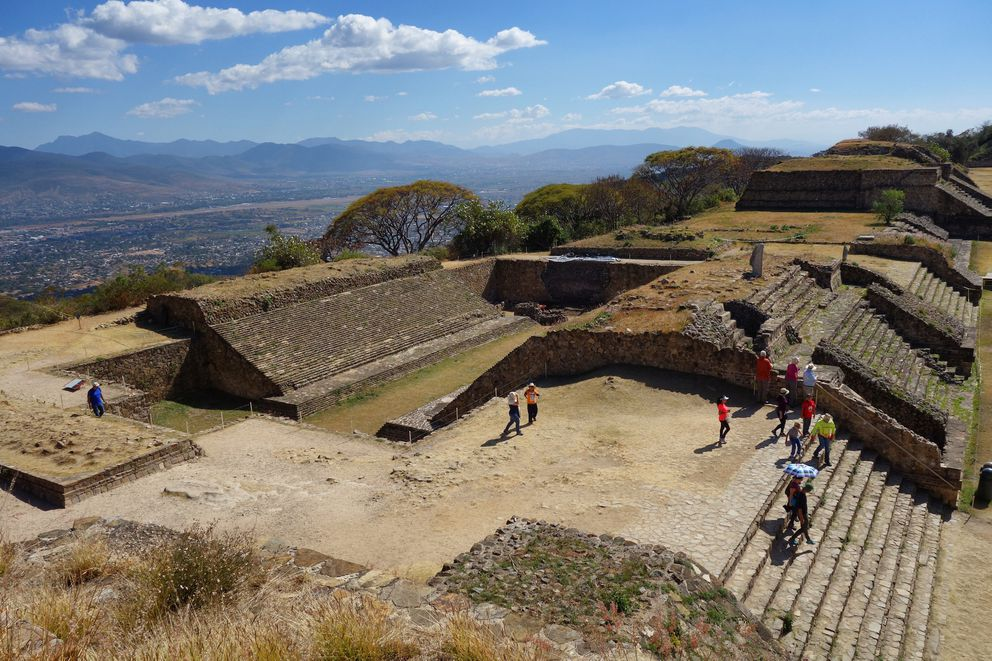 "Known as the ""ball field,"" this site at Monte Alban was used for ceremonial games by the Zapotec people. The Oaxaca airport is in the background. (Scott McMurren)"