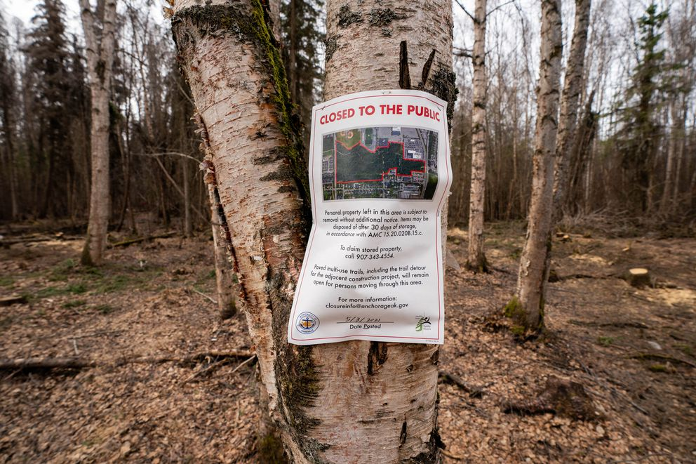 A sign posted in the Chester Creek Greenbelt notifies campers that belongings may be cleared without further notice, on Wednesday, May 5, 2021 in Anchorage. (Loren Holmes / ADN)