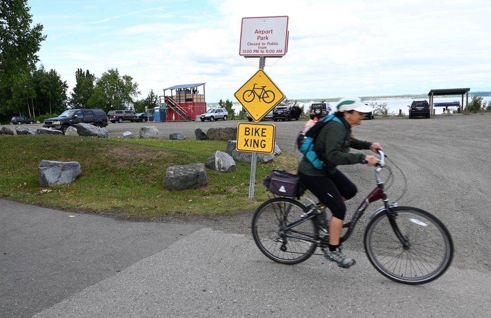 One of several marine mammal observation sites is at the Anchorage overlook at Earthquake Park. Photographed June 22, 2021. (Anne Raup / ADN)