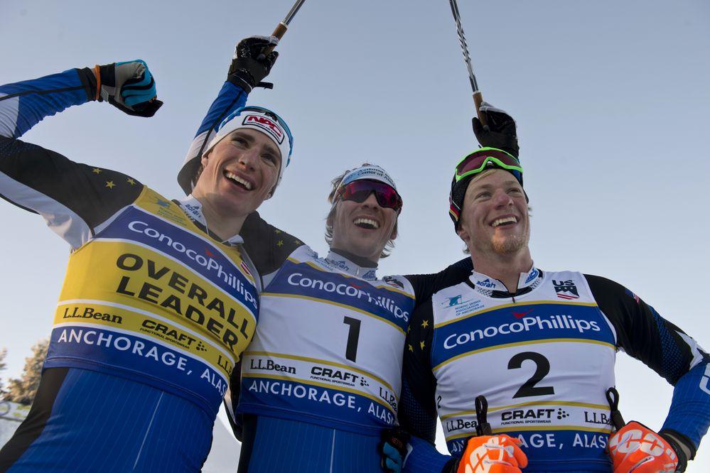 Alaskans in the 2018 Olympics: APU cross country skiers Tyler Kornfield, Reese Hanneman and Logan Hanneman. (Marc Lester / ADN)