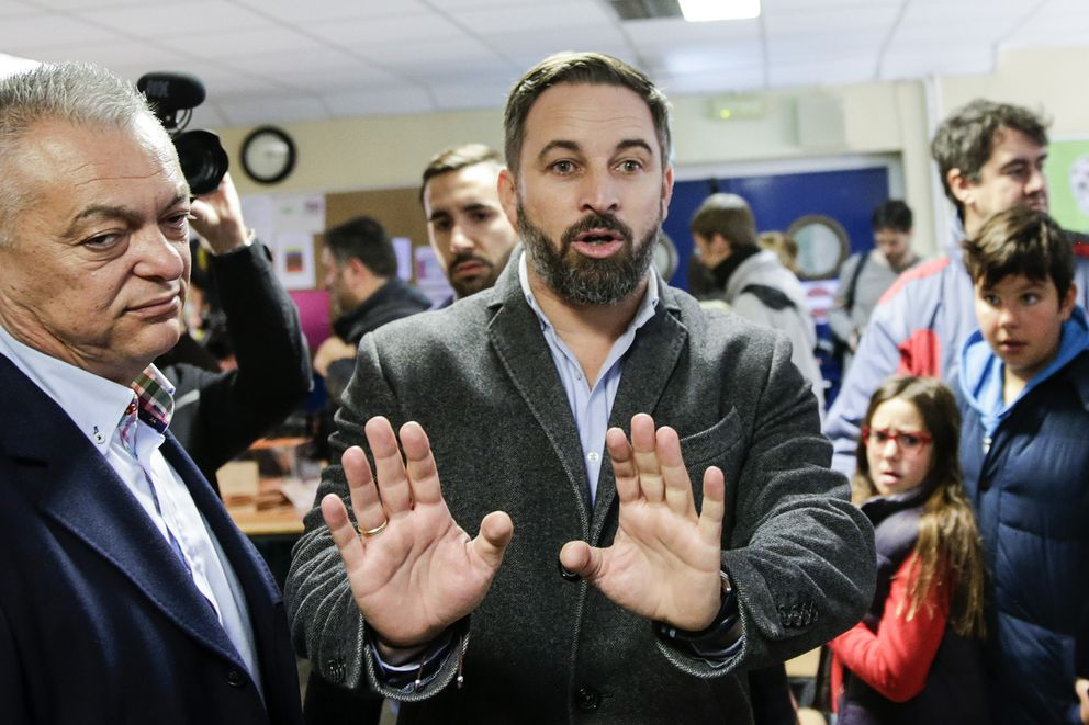 Santiago Abascal, leader of far-right Vox Party, arrives at a polling station to cast his vote for the general election in Madrid, Spain, Sunday, Nov. 10, 2019. Spain holds its second national election this year after Socialist leader Pedro Sanchez failed to win support for his government in a fractured Parliament. (AP Photo/Andrea Comas)