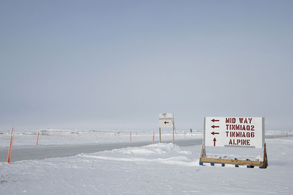 A sign on the North Slope points the way to the two wells, Tinmiaq2 and 6, that are part of ConocoPhillips'Willow discovery —one of two finds stoking industry interest in the National Petroleum Reserve in Alaska. (Judy Patrick / ConocoPhillips)