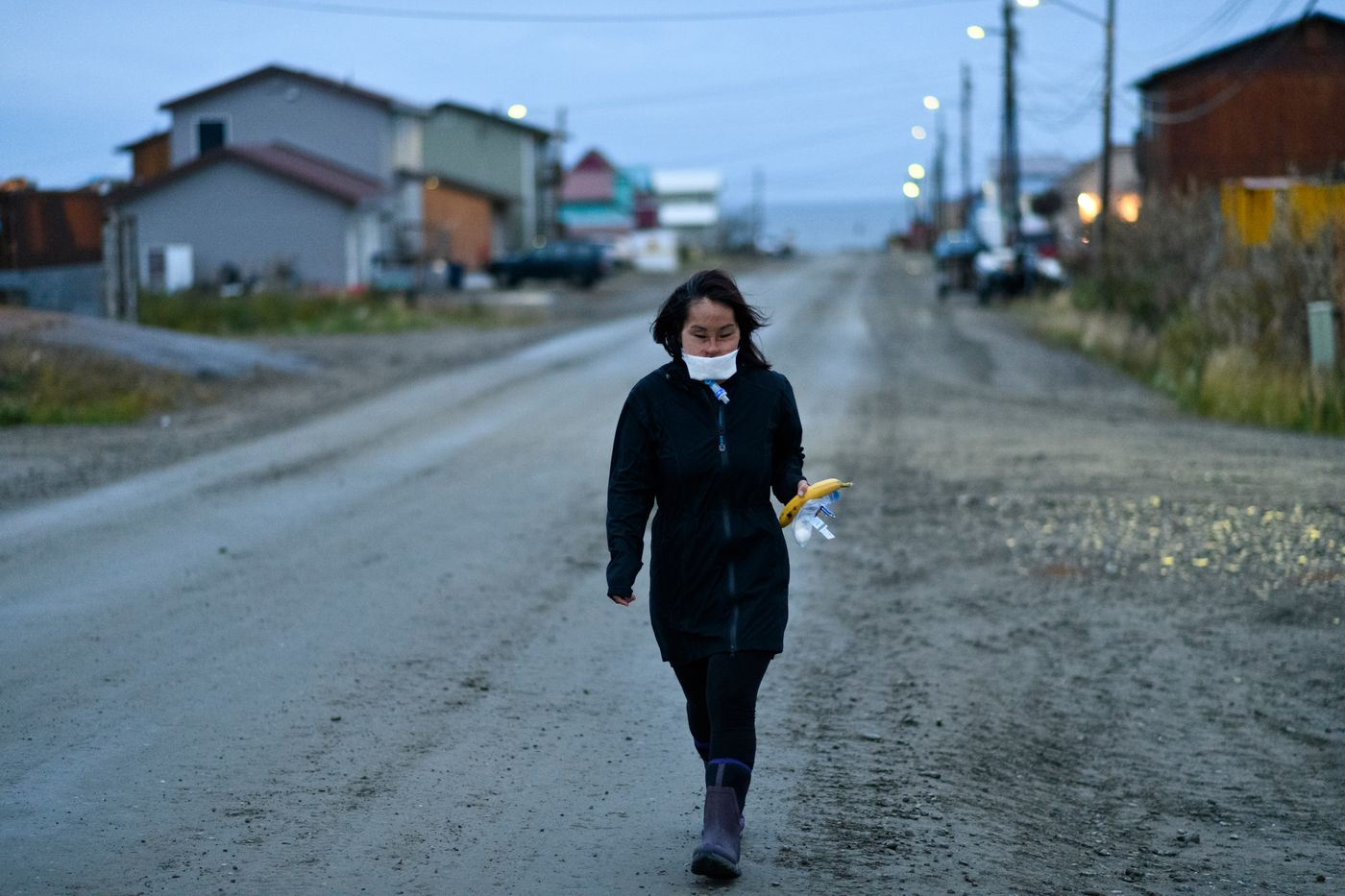 Carol Seppilu walks to work at the Quyanna Care Center in Nome on September 1, 2019. (Marc Lester / ADN)