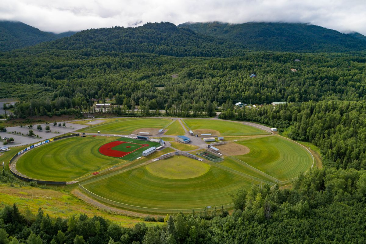 An aerial view of Lee Jordan Field at the Loretta French Sports Complex in Chugiak. (Loren Holmes / ADN archives)