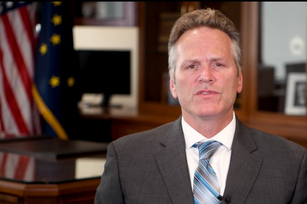 Gov. Mike Dunleavy in a video announcing budget and Permanent Fund dividends. (Vimeo)