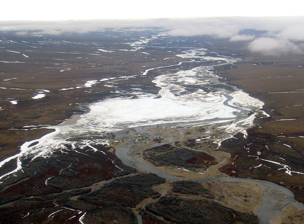 Kuparuk River icing, also known as aufeis, is seen near the Toolik Field Station in the mid-2000s. (Jay Zarnetske / Michigan State University)