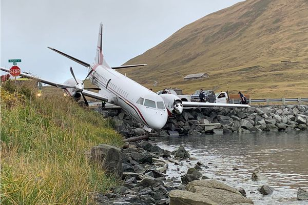 A Saab 2000 twin-engine turboprop, pictured in this undated NTSB photo, crashed at the Unalaska airport Oct. 17, 2019, killing one passenger and injuring four others. (National Transportation Safety Board photo)