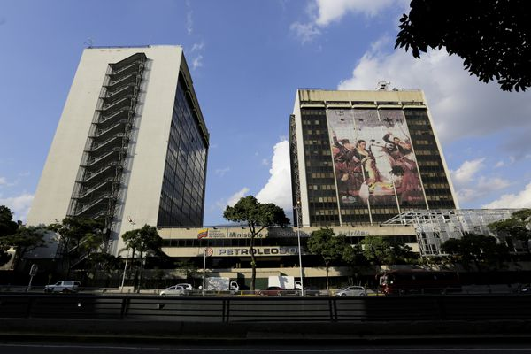 The headquarters of the state-owned oil company Petroleos de Venezuela, PDVSA, stands in Caracas, Venezuela, Monday, Jan. 28, 2019. The Trump administration imposed sanctions Monday on PDVSA, a potentially critical economic move aimed at increasing pressure on Venezuelan President Nicolas Maduro to cede power to the opposition. (AP Photo/Fernando Llano)