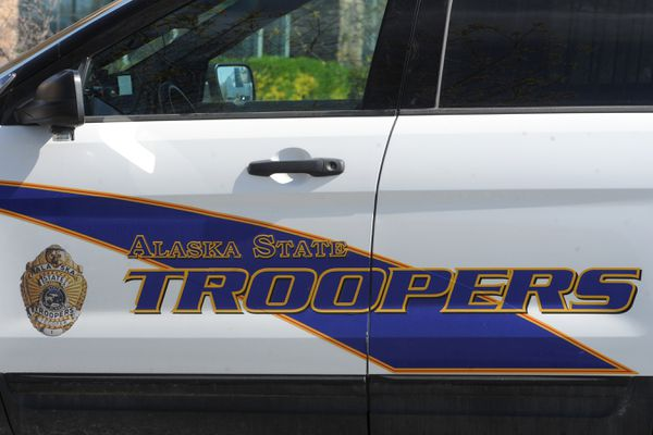 Alaska State Troopers patrol vehicle on Wednesday, May 13, 2020, during the COVID-19 pandemic. (Bill Roth / ADN)