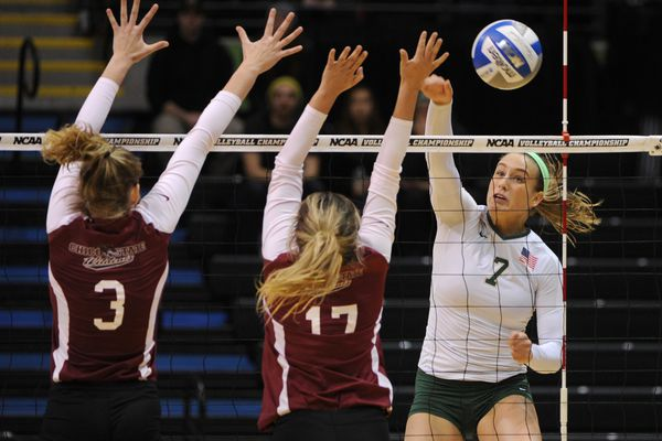 UAA sophomore Leah Swiss scores a kill during the Seawolves' 3-0 victory over Chico State Wildcats in the first-round of the NCAA Division II West Regional Volleyball Championships at the Alaska Airlines Center on Thursday, Dec. 1, 2016. (Bill Roth / Alaska Dispatch News)