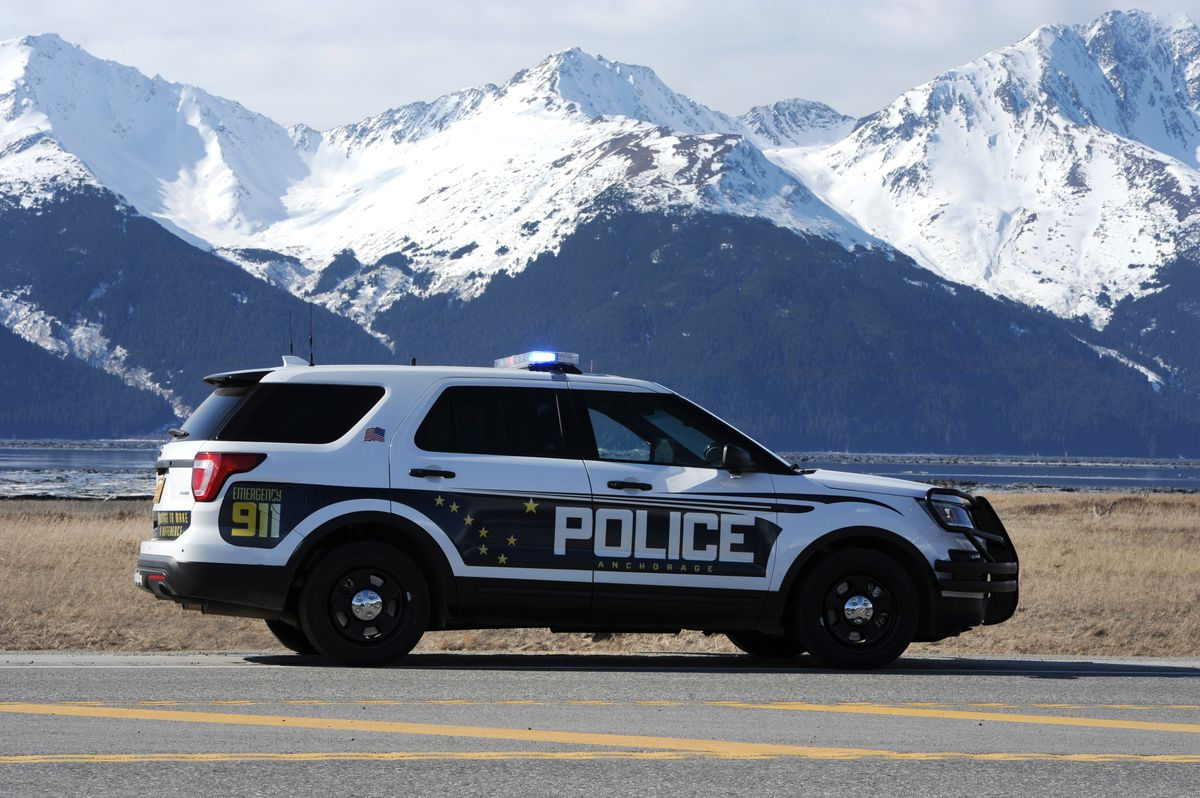 An Anchorage Police Department patrol vehicle in Girdwood during a Seward Highway road closure in April 2017. (Bill Roth / ADN archive)