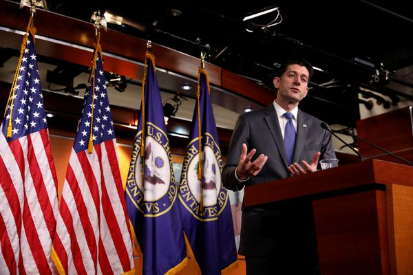 Speaker of the House Paul Ryan speaks at a news conference on Capitol Hill in Washington, U.S., March 22, 2018. REUTERS/Aaron P. Bernstein