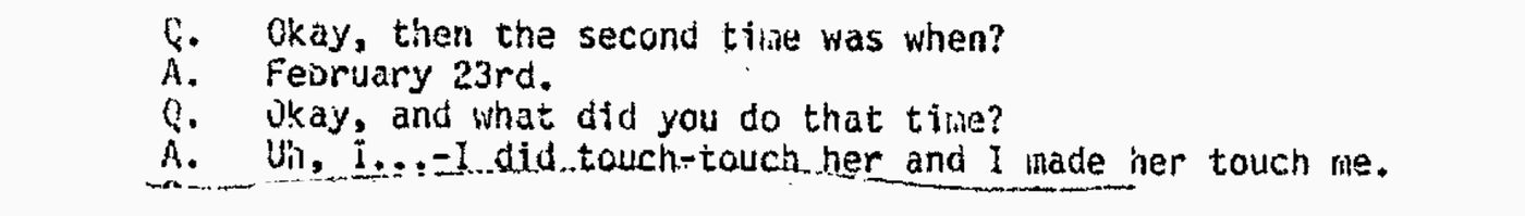 An excerpt from the transcript of Rhodes-Johnson's second interview with Mouser in September 1987. He voluntarily came to the Anchorage Police Department headquarters. (Obtained by ProPublica and Anchorage Daily News)