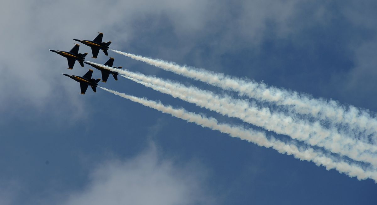 The U.S. Navy Blue Angels perform during the Arctic Thunder air show at Joint Base Elmendorf-Richardson on Saturday, July 30, 2016 in Anchorage. (Bob Hallinen / ADN archive)