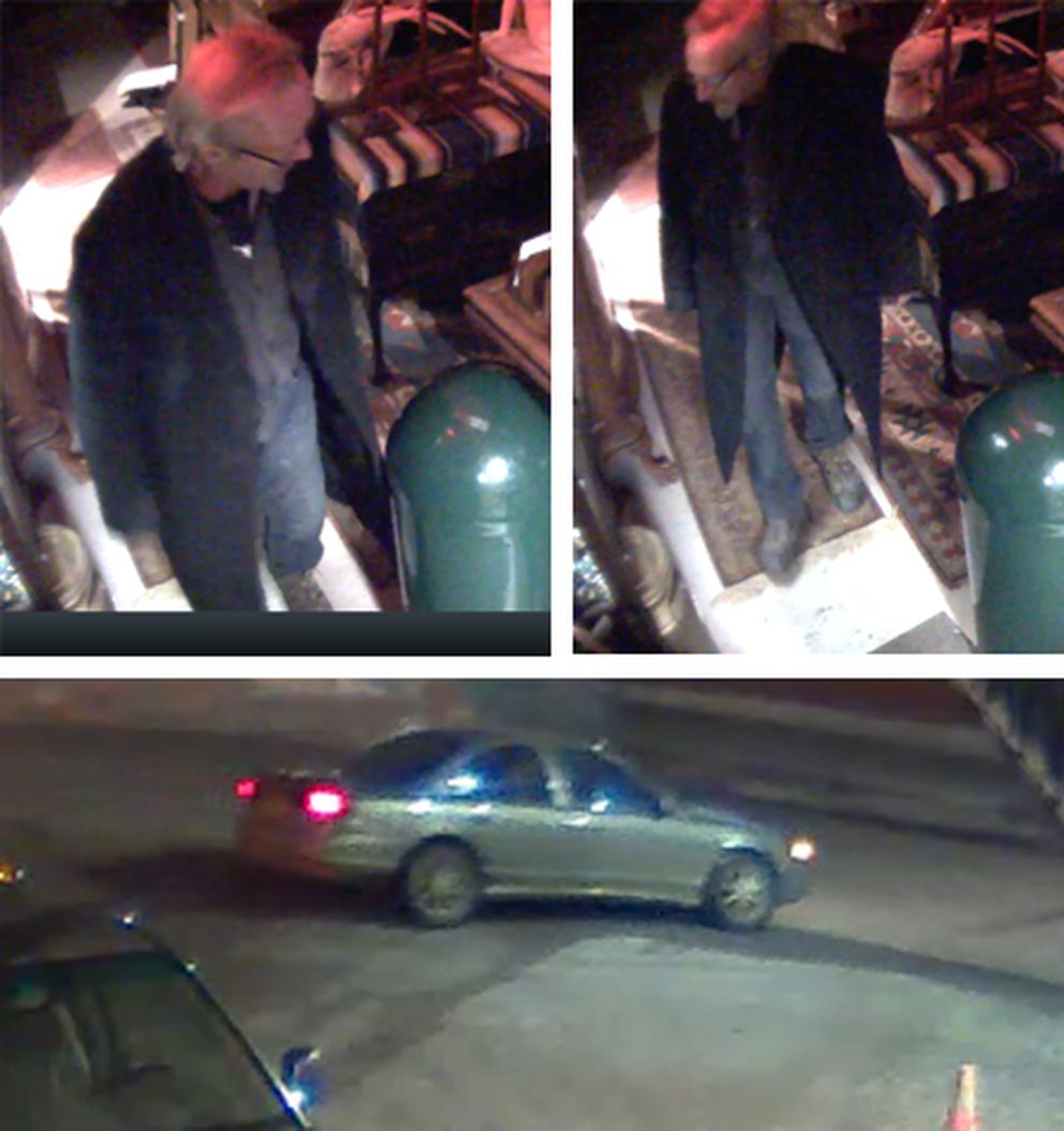 Surveillance cameras captured these images of the suspect and suspect car in a burglary at Duane's Antique Market in Anchorage early Saturday morning, April 7, 2018. (Photos provided by APD)
