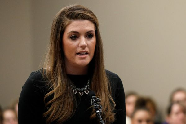 Victim Sterling Riethman speaks at the sentencing hearing for Larry Nassar, a former team USA Gymnastics doctor who pleaded guilty in November 2017 to sexual assault charges, in Lansing, Michigan, U.S., January 24, 2018. REUTERS/Brendan McDermid