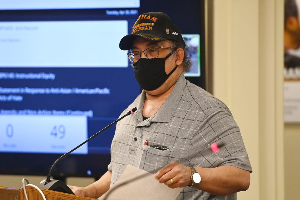 Kevin McGee, president of the NAACP in Anchorage and a board member of the ACLU of Alaska, testified in favor of an anti-racism policy as he shared a personal experience of racism involving his daughter during the Anchorage School Board meeting on Tuesday, April 20, 2021. (Bill Roth / ADN)