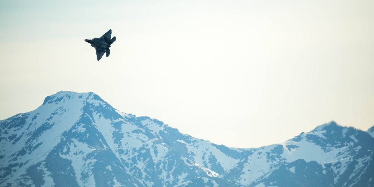 An Air Force F-22 takes off from its home base at Joint Base Elmendorf-Richardson in May during the Northern Edge training exercise. (Loren Holmes / Alaska Dispatch News)