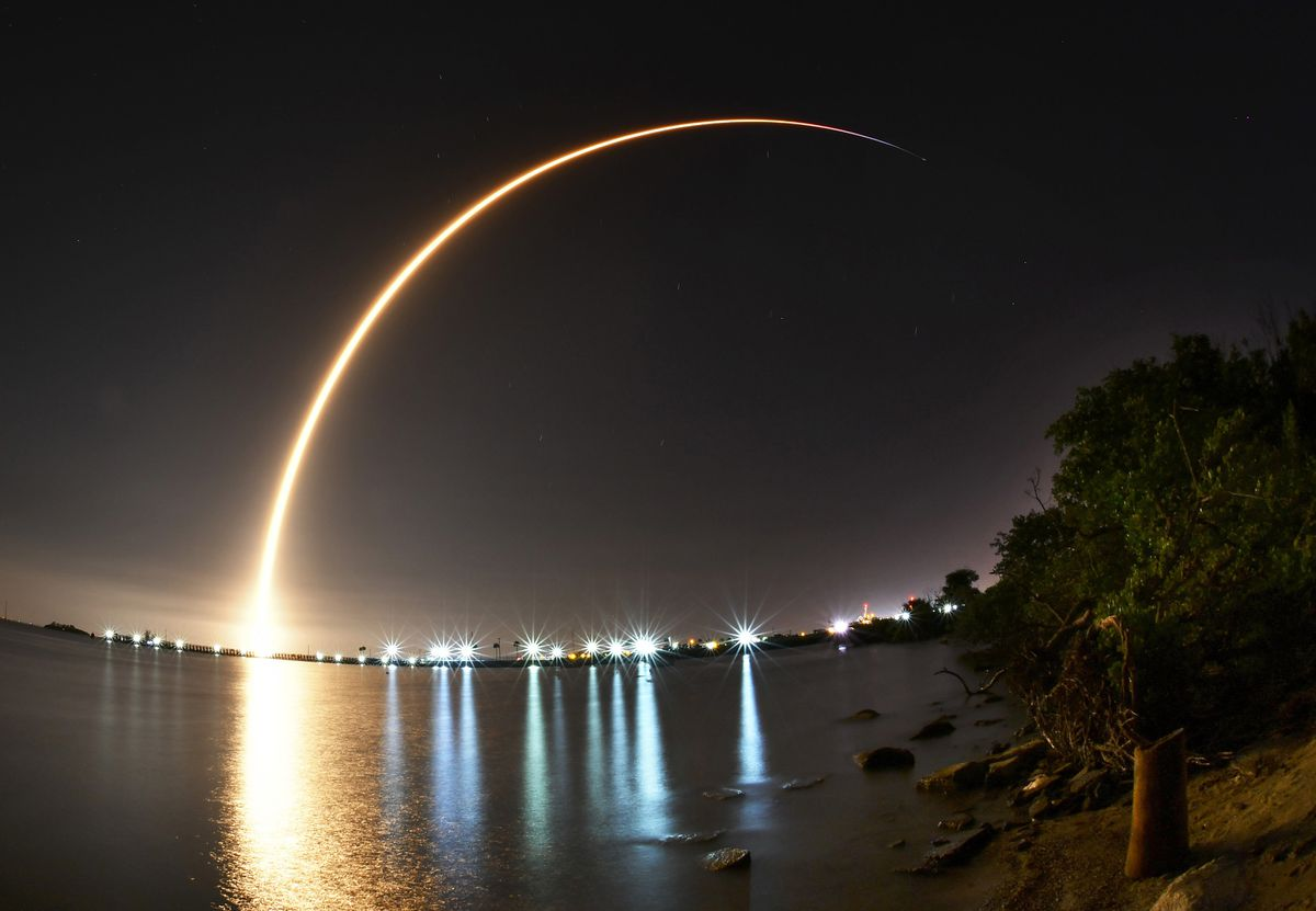 A SpaceX Falcon 9 rocket lifts off early Tuesday, Aug. 7, 2018, from Launch Complex 40 at Cape Canaveral Air Force Station, Fla. (Malcolm Denemark/Florida Today via AP)