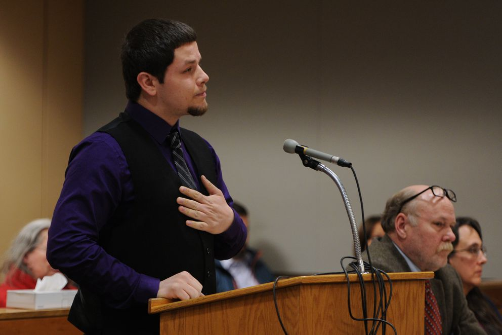 "Solomon ""Tommy"" James, who lived with his adoptive mother Anya James for 10 years starting at age 8, testified during her sentencing at the Nesbett Courthouse on Tuesday. (Bill Roth / Alaska Dispatch News)"