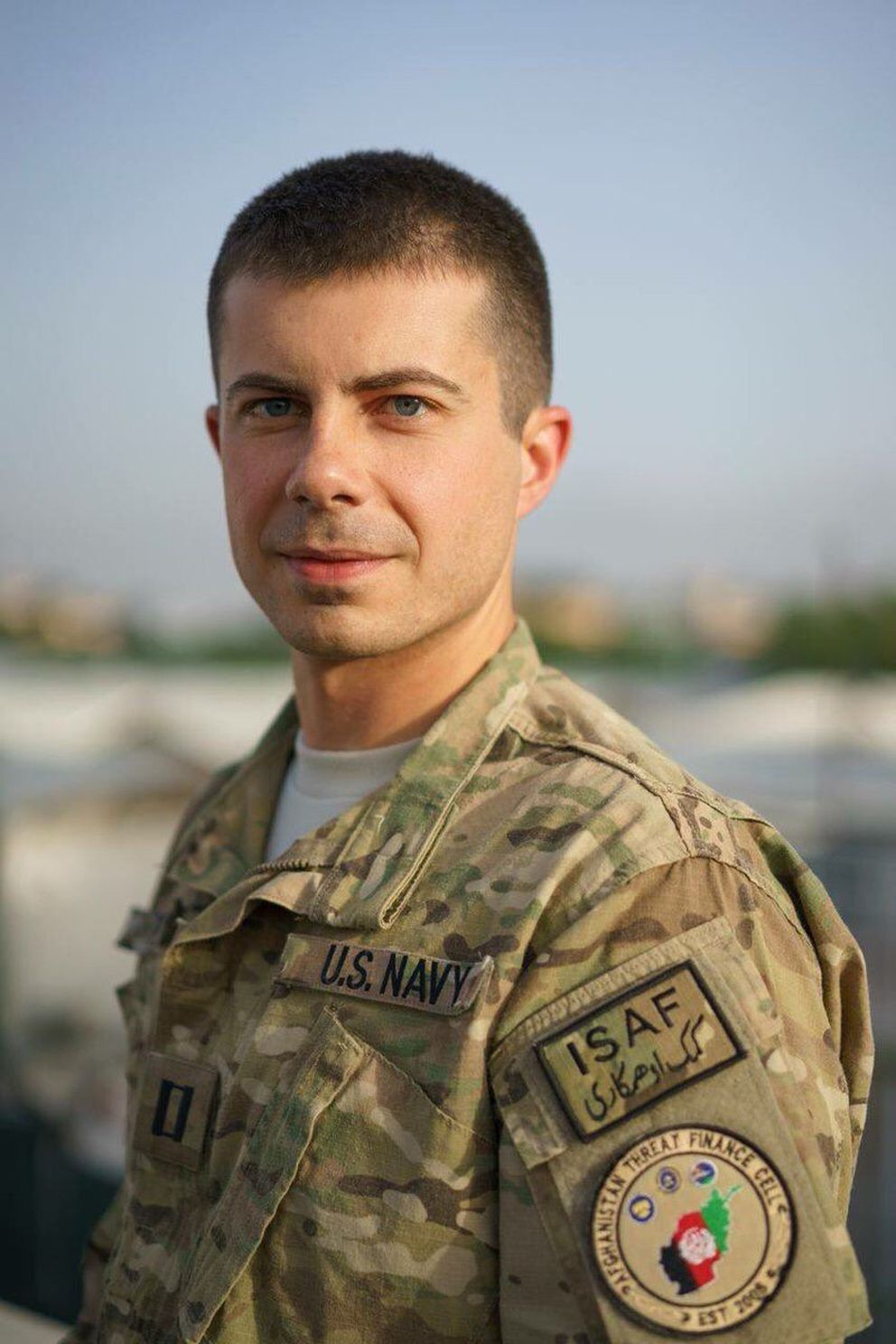 Ensign Pete Buttigieg during his deployment in Afghanistan in 2014. (Courtesy Pete Buttigieg)