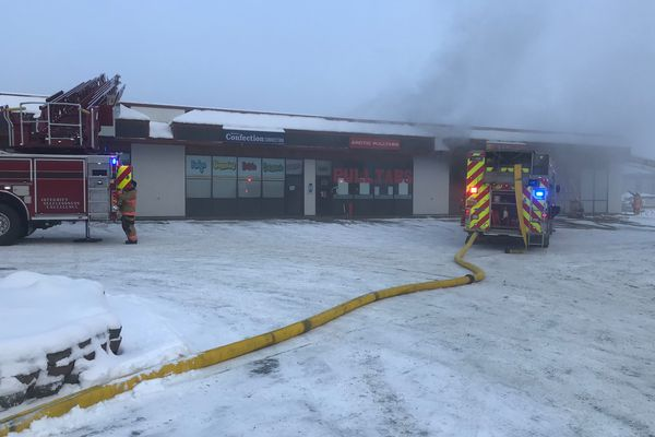 A fire in a Parks Highway strip mall in Wasilla was reported just before noon on Feb. 6, 2019. The fire was limited to Tan Alaska, officials said. (Photo courtesy Ken Barkley, Matanuska-Susitna Borough)