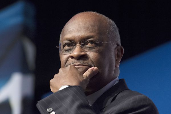 FILE - In this June 20, 2014 file photo, Herman Cain, CEO, The New Voice, speaks during Faith and Freedom Coalition's Road to Majority event in Washington. Trump says Herman Cain withdraws from consideration for Fed seat amid focus on past allegations. (AP Photo/Molly Riley, File)
