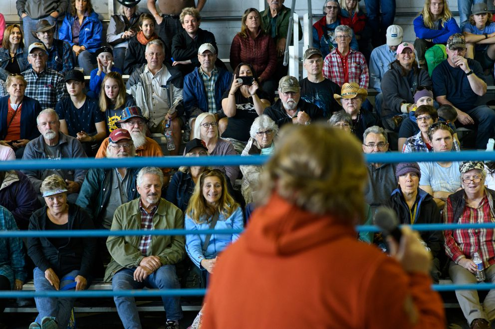 Spectators await the weighing of pumpkins.  (Marc Lester / ADN)