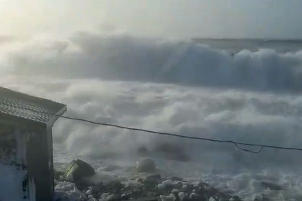 Betty Soolook, 39, captured footage on Feb. 20 of a storm pummeling the coast at the village of Diomede in the Bering Strait where she lives. Some buildings suffered flooding, she said. Soolook said on Facebook there is open water when there should be six feet of sea ice along the coast. The National Weather Service said several warm storms from the south and warm water temperatures have contributed to an unprecedented lack of sea ice for the region in February. (Betty Soolook)