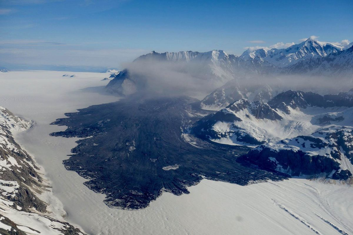 A 4,000-foot-high mountainside collapsed in Glacier Bay National Park June 28, 2016, in a massive landslide that spread debris and raised a dust cloud for miles across Lamplugh Glacier, seen in this photo taken the next day. (Courtesy Paul Swanstrom / Mountain Flying Service)