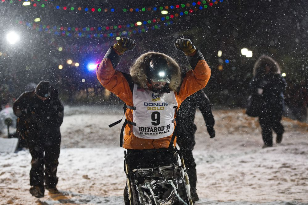 Peter Kaiser of Bethel reaches Nome to win the 2019 Iditarod Sled Dog Race on March 13, 2019. (Marc Lester / ADN)