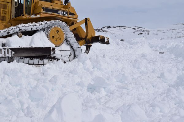Crews worked to clear the Denali Highway of snow on the Richardson Highway side of the road in early May 2018. (Alaska Department of Transportation and Public Facilities)