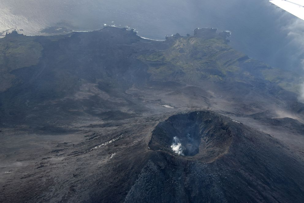 A small lava dome grows in the summit crater of Cleveland volcano on August 17, 2017.Photo by Janet Schaefer / Alaska Volcano Observatory / Alaska Division of Geological & Geophysical Surveys