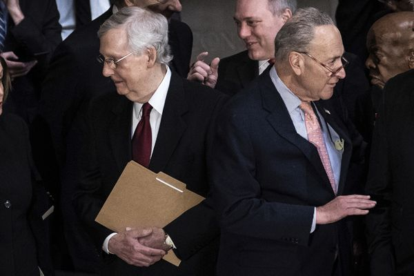 """FILE - In this Oct. 24, 2019, file photo, Senate Majority Leader Mitch McConnell, talks with House Speaker Nancy Pelosi, not seen, as Senate Minority Leader Chuck Schumer of N.Y., right, talks with House Minority Leader Kevin McCarthy, not seen, before a memorial service for Rep. Elijah Cummings, D-Md., at the Capitol in Washington. The Senate has long been a place of false gentility, where """"my good friend"""" can be a euphemism for the opposite. Now, as the Senate prepares to consider an impeachment trial, the acidic tribal politics in the era of Donald Trump is stripping away the veneer of comity from a chamber that's endured a lengthy slide already. (Erin Schaff/Pool via AP)"""