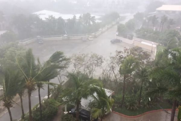 A storm batters as Hurricane Irma descends on Providenciales, in the Turks and Caicos Islands, in this still image taken from September 7, 2017 social media video. Aneesa Khan/via REUTERS