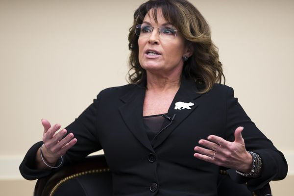 Sarah Palin speaks during a panel discussion before a preview of the film