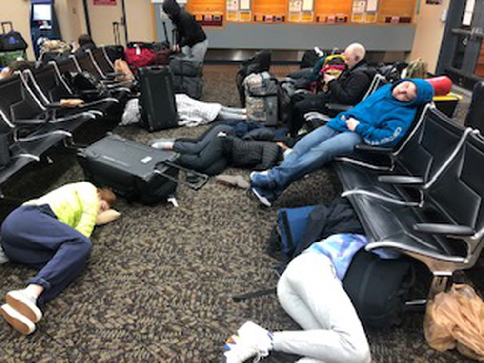 Skagway basketball players sleep on the floor at the Ketchikan ferry terminal early Saturday, Jan. 25, 2020. Delays in service caused the ferry to depart Ketchikan late and it stopped in Juneau for repairs. The team was stranded until the ferry was repaired or weather cleared enough to fly. Photo courtesy of Denise Sager