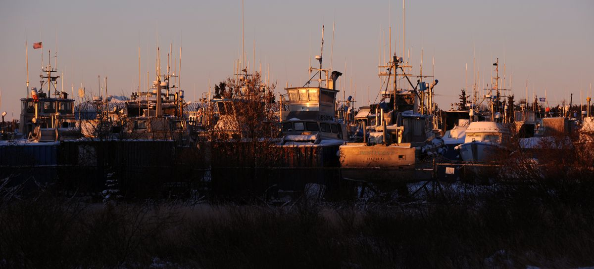 Fishing boats are stored on land for the winter in Dillingham. (Erik Hill / ADN archive 2016)