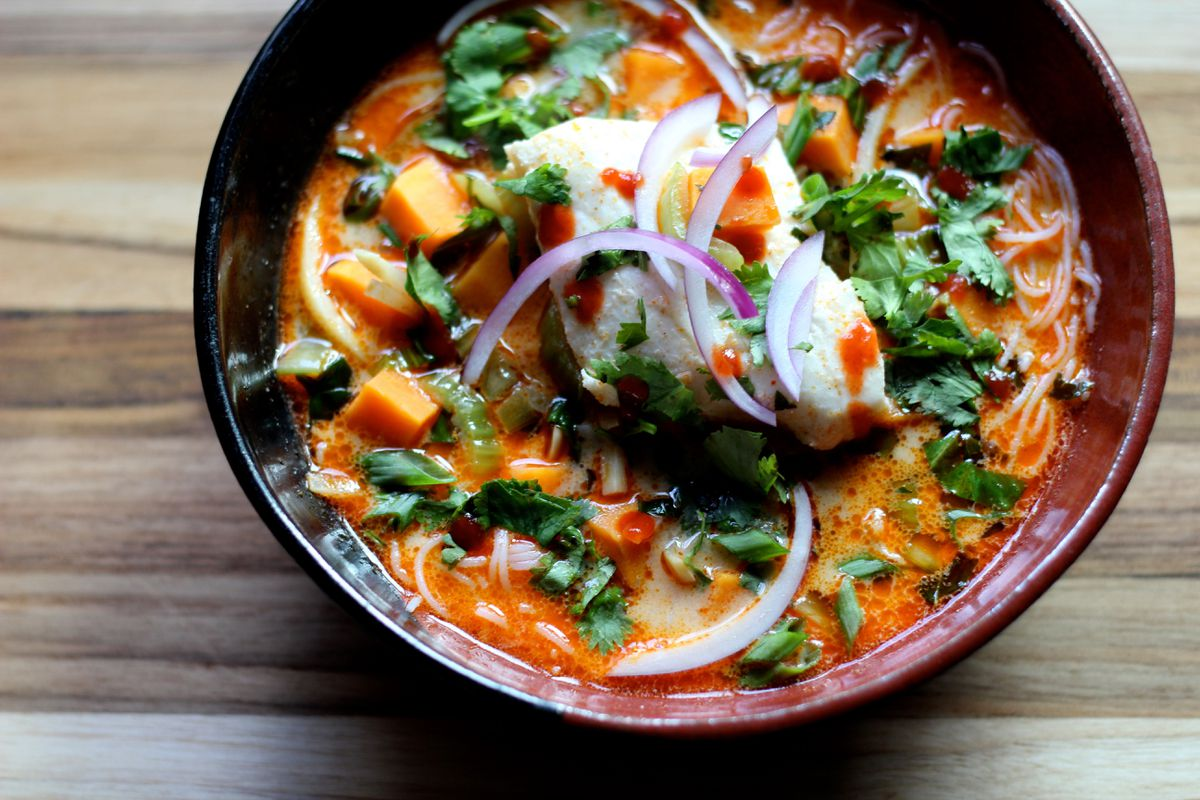 Thai curry noodle soup with halibut and sweet potato. (Maya Wilson / Alaska from Scratch)