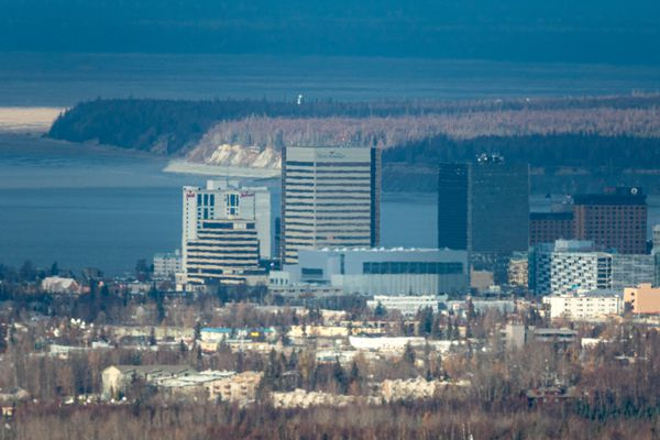 Downtown Anchorage, seen from Stuckagain Heights, on Wednesday, Oct. 23, 2019. (Loren Holmes / ADN)