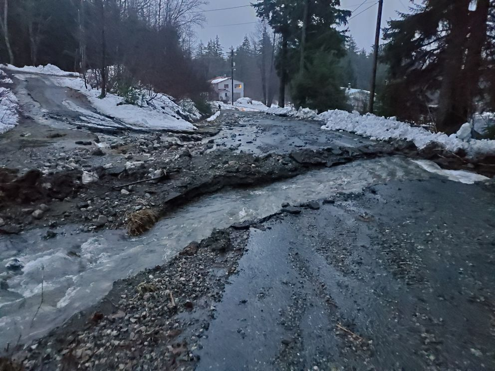This photo provided by the Alaska Department of Transportation and Public Facilities shows damage from heavy rains and a mudslide 600 feet wide in Haines, Alaska, on Wednesday. (Matt Boron/Alaska Department of Transportation and Public Facilities via AP)