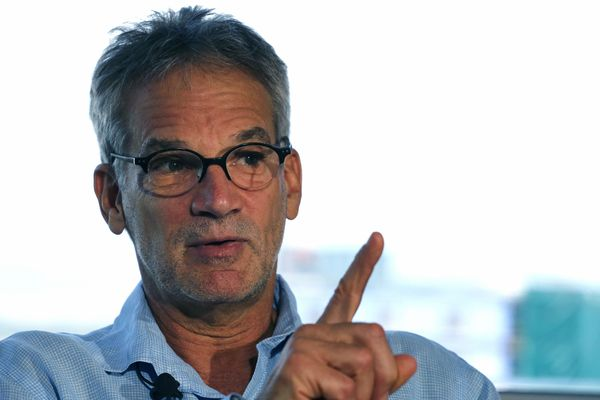 """In this Sept. 17, 2014 file photo, Colorado-based author Jon Krakauer gestures during an interview in Denver. Krakauer doesn't plan a book tour to promote his latest work, """"Missoula: Rape and the Justice System in a College Town."""" But he does plan one public appearance in Missoula, where he'll face angry critics who say his portrayal of the small town is unfair."""