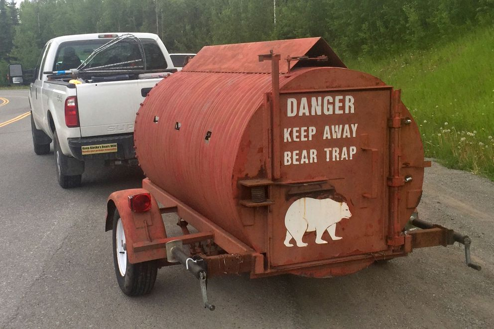 An Alaska Department of Fish and Game driver prepares to haul a bear trap up Hiland Road on Wednesday. A department spokesperson said Thursday biologists are working to trap and kill a bear believed to be responsible for a fatal attack on a hiker and a nonfatal mauling of a man searching for him Wednesday. (Matt Tunseth / ADN)