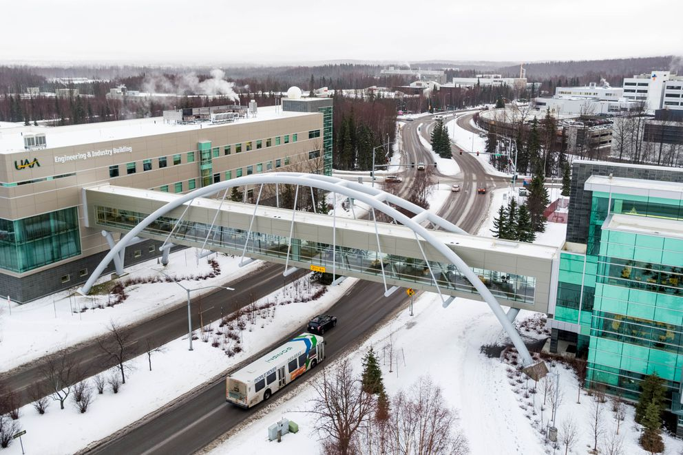 The Parrish Bridge connects the Engineering & Industry Building, left, with the Health Sciences Building on the University of Alaska Anchorage campus on Jan. 30, 2019. (Loren Holmes / ADN)
