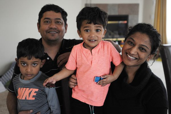 Diwakar Vadapalli and his wife Manjula Boyina and their sons Siddharth, 5, and Vikhyath, 1, are leaving Anchorage and moving back to India to be closer to family. Monday, April 30, 2018. (Bill Roth / ADN)