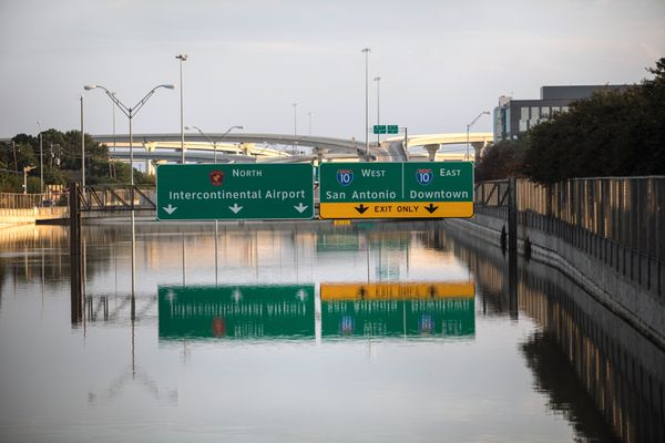 A portion of the Sam Houston Tollway in Houston remains submerged under floodwaters on Thursday morning, Aug. 31, 2017. As what was once a Category Four hurricane weakened into a tropical depression, a region that had been incapacitated by the storm continued to gather itself Thursday and take stock of damage that officials say will take years to repair. (Tamil Kalifa/The New York Times)
