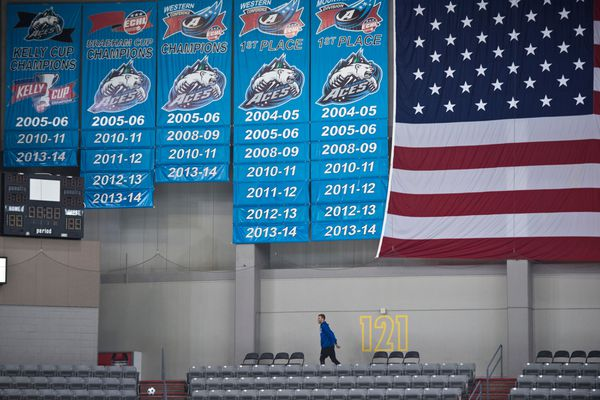 The Alaska Aces club accomplishments are marked with banners hanging on the west side of Sullivan Arena. The team is a three-time winner of the Kelly Cup as ECHL champions. (Marc Lester / Alaska Dispatch News)