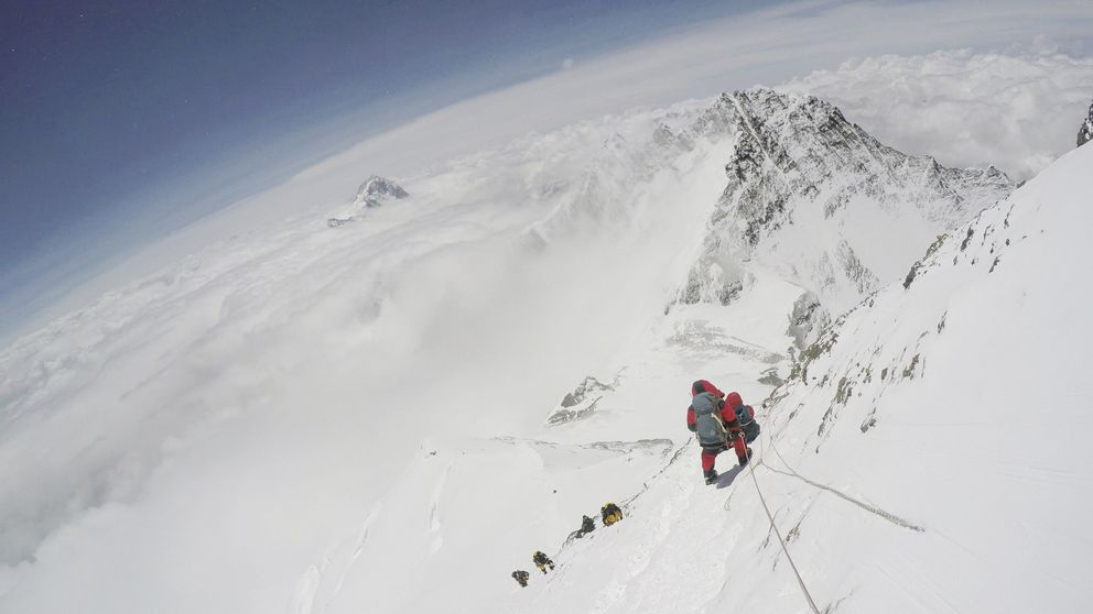 A handout image from a video taken by Paul Pottinger, a Seattle doctor, who passed a group of doomed climbers on his descent from Mount Everest. (Paul Pottinger via The New York Times)