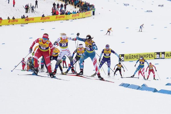 Rosie Brennan of Anchorage powers her way up a hill in Saturday's 15-kilometer World Cup skiathlon race in Oberstdorf, Germany. Brennan, a 2018 Olympian who trains with the Alaska Pacific University ski program, finished 17th in the race. (Sarah Brunson / US Ski Team)